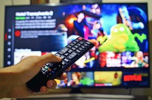 watching television using a remote