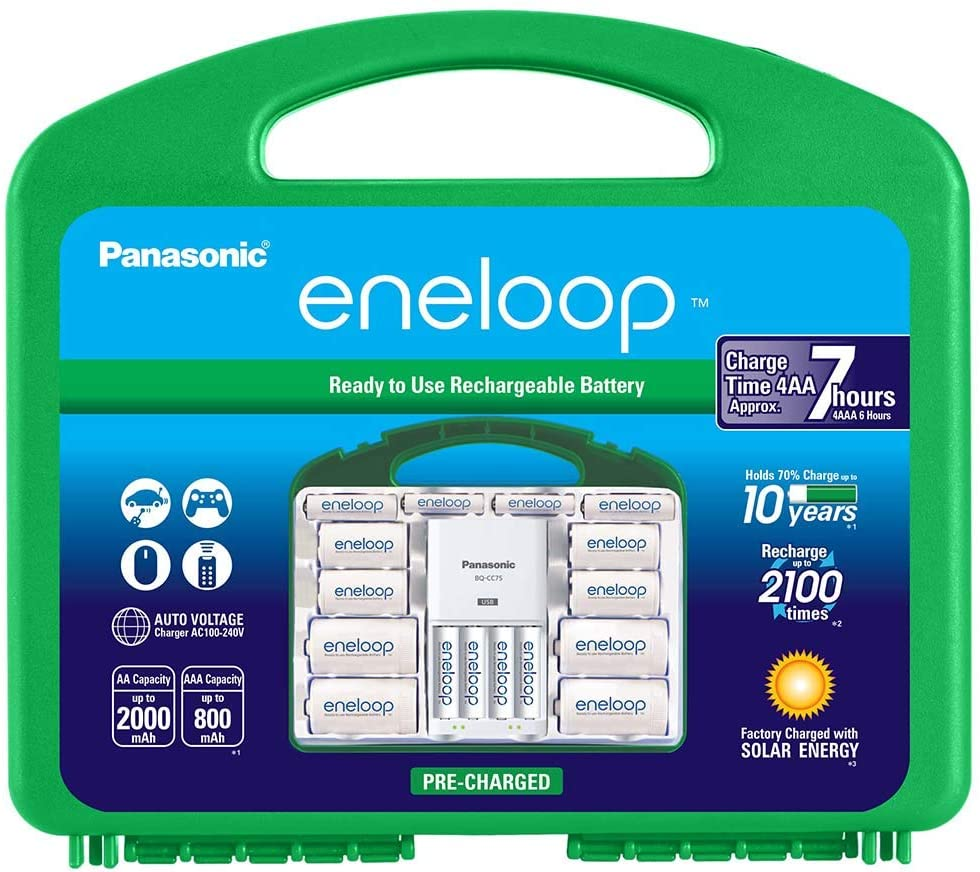 Panasonic K-KJ75MC64ZA eneloop Power Pack 6AA  4AAA  4 C Adapters  4 D Adapters     Advanced    Individual Battery Charger with USB Port and Plastic Storage Case